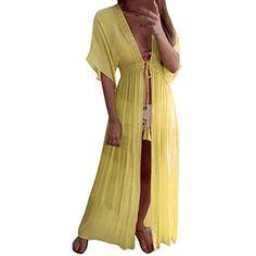 Copricostume Uncinetto Donna Mare Costume da Bagno Abito Spiaggia Caftano da Abiti Vestito Pareo Mare Boho Copri Costumi Copricostumi Scollo a V Signora Cover Up Estate Parei da Mare Beachwear