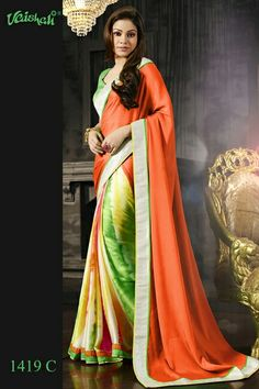 ♥ 2,999 Taka ♥ Saree Code 1424-B  ♥ Material - Amazing embellished italian satin crepe  ♥ Blouse - Unstitched & included ♥  ♥ Embroidered - A touch of embroidered border