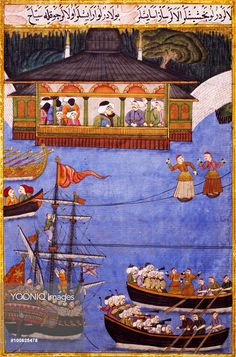 Yooniq images - Nautical Festival before Sultan Ahmed III (1673-1736), miniature by Levni from 'Surname' by Vehbi, Ottoman manuscript. Turkey, 18th century.