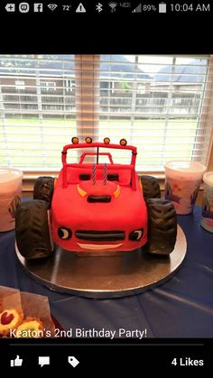 Monster truck 2nd Birthday Parties, Boy Birthday, Nerf Cake, Cakes And More, Monster Trucks, Sweets, Boys, Party, Nerf Gun Cake