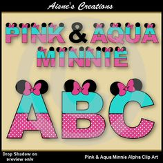 Pink & Aqua Minnie Alphabet/Letters Clip Art - matching numbers set also available