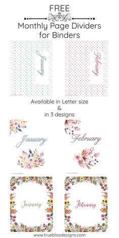 Download some page dividers and add some style to your binder today. For more freebies visit www.trueblissdesigns.com