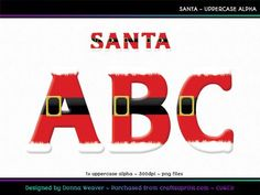 SANTA Uppercase Alpha by Donna Weaver HO HO HO!! SANTA is an alpha of Christmassy goodness! Perfect for your Christmas projects.  Included is one full character set as specified above. All characters are individual files in png format.  Click my name to see more of my products, including corresponding alphas that match this one.  Thanks for looking :)
