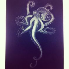 White Octopus Mezzotint by PufferfishPress on Etsy, $40.00