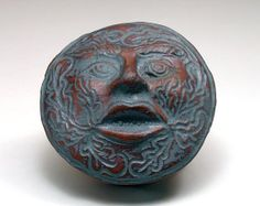 Green Man Clay Pottery Rattle Molded and Sculpted by Artifactorium, $22.00