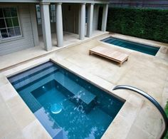 Creative with nice clean lines. Great DIY project for an ambitious DIYer. Learn the basics on building this type of unit at: www.custombuiltspas.com