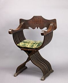 Savonarola Chair, Cushion and a Fragment. Italy 15th century