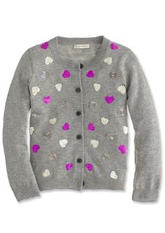 Gift Guide For Her, Him, and Kids - J. Crew Sequin Hearts Cardigan  from #InStyle