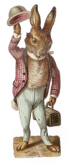 Le lapin humanisé - Costume Chapeau - Chromo Decoupi  Victorian Scrap  Oblaten
