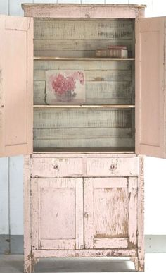 distressed, painted cupboard