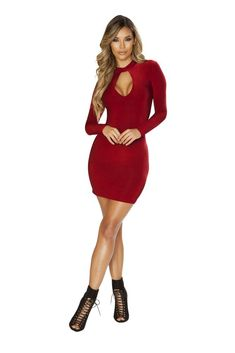 5e060bebc674 ROMA LONG SLEEVED DRESS WITH CUTOUT DETAIL BURGUNDY  Roma  MaxiDress   AnyOccasion Mini Dress