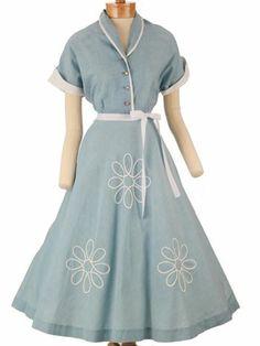 50s Blue Chambray and White Pique Shirtwaist Full Skirt Dress