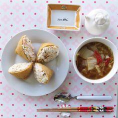 Youbu chobob ( Rice with crab meat stuffed in fried tofu)and soybean paste cabbage soup. 오늘 점심으로는 게맛살을 다져넣고 만든 유부초밥과 시원한 배추국. *배춧국은 쌀뜨물에 생된장 풀어 배추와 붉은고추,  마늘 그리고 멸치가루( 멸치+ 표고버섯+ 다시마 갈아논것)