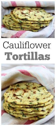 """Gluten free dinner ideas Cauliflower Tortillas Recipe for Cauliflower Tortillas with lime and cilantro """"Recipe for Cauliflower Tortillas: tortillas made out of cauliflower instead of flour. It's unbelievable how delicious they are! Great to eat on their own or with a taco filling."""" """"3/4 head cauliflower 2 large eggs 1/4 cup chopped fresh cilantro juice from 1/2 lime (add the zest too if you want more of a lime flavor) salt and pepper, to taste"""""""