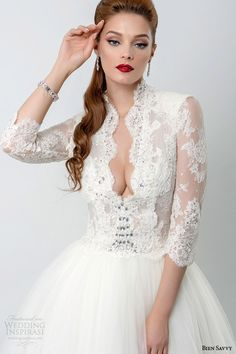 bien savvy bridal 2015 rebecca three quarter sleeve ball gown wedding dress lace bodice close up