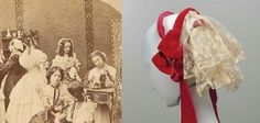- Ladys. 1860  -Woman's cap.About 1860  Silk velvet, silk lace, silk plain weave, wire  Woman's cap made of three wire bands covered with bright red velvet ribbon; two deep ruffles of machine-made lace sewn to bands across back; velvet ribbon bows and ties at sides FMA