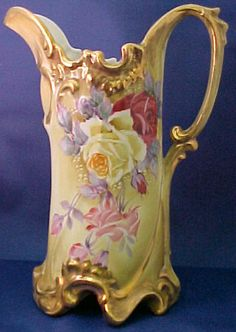 Hand Painted Nippon Porcelain Pitcher With Green Wreath Mark   c.1920's-Late 1930's
