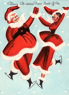 Santa Claus and not Mrs. Claus ice skating ~ vintage Mid-Century Modern Christmas Card