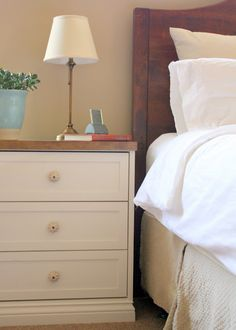 """Bedside Tables...a RAST hack ~ Get Home Decorating. Like this for when I move away from a bedroom """"set"""" to more diverse pieces. I'd paint the top white but I like the storage and the look."""