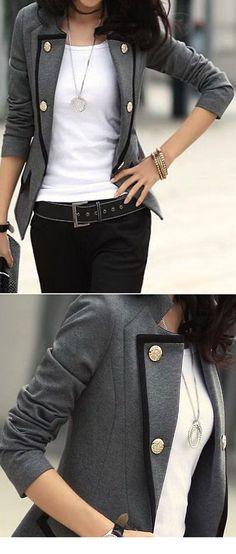 Grey Contrast Trims Jacket