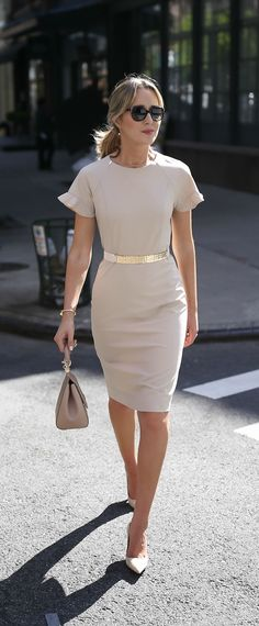 Beige nude short sleeve sheath dress with flutter sleeves // hammered gold nude accent waist belt // suede nude pointed toe pumps // classic work wear, office style, professional women // kate spade, j. Beauty on High Heels Business Professional Outfits, Business Casual Outfits, Business Dresses, Office Outfits, Business Fashion, Office Wear, Work Outfits, Office Uniform, Office Wardrobe