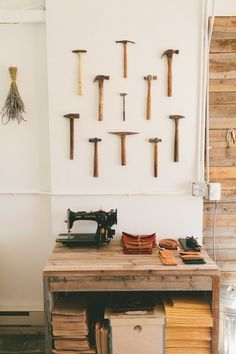 """Amy's """"Back to Her Roots"""" Workspace: The Studio of Stitch & Hammer Workspace Tour #home #deco #workspace"""