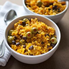 Puerto Rican rice with green olives and pigeon peas! delicious!