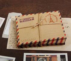 Vintage Style Mini Airmail Envelopes / Par Avion Envelopes, Paris (France) Design - Set of 8 with FREE Vintage Stamps on Etsy, $2.70