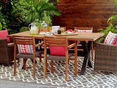 Canvas Lakeside Collection Teak Table Cottage Furniture