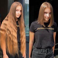 Long To Short Hair, Long Brown Hair, Super Long Hair, Long Hair Cuts, Short Hair Styles, Girls Short Haircuts, Short Girls, Before And After Haircut, Waist Length Hair