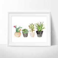 Farmhouse Art Decor. Floral art, shabby chic boho 3 Watercolor Floral Cactus and Succulent Plants in Tribal Style Pots. Boho Watercolor Art Print. Art prints for nursery walls from VividEditions, Art Prints For Kids.