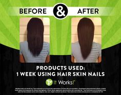 Great It Works Hair, Skin, and Nails Before and After! 1)Boosts your natural collagen and keratin production 2)Supports the body's defenses against free radical damage 3)Moisturizes while enhancing skin's elasticity and flexibility 4) Promotes healthy cell growth, strength, and shine. http://newlifebodywraps.myitworks.com/shop/product/322/ #NewLifeBodyWraps