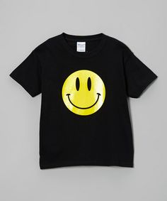 Take a look at this Black Smiley Face Glow-in-the-Dark Tee - Kids by imaginTEE on #zulily today!