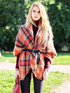 how to wear a blanket scarf.