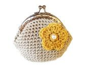 Crochet beige coin purse with gold yellow  flower, silver tone kiss clasp, metal frame