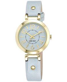 Nine West Women's Light Blue Leather Strap Watch 32mm NW-1712LBLB | macys.com