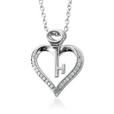 Sterling Silver Key My Heart Diamond Pendant Necklace (HI, I, 0.10 carat), diamond heart pendant necklace