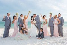 Goofy Wedding Party Group Shots on the Beach