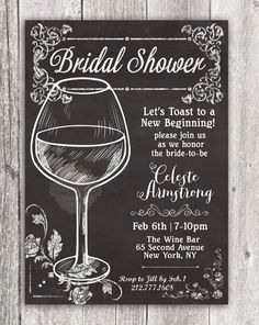Chalk Wine glass Bridal Shower Wedding Wine by PaperandPomp
