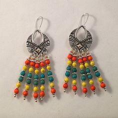 Earrings Southwest Style Chandelier Orange Yellow by Lilyspad58