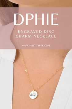 Available in 4 metal options and 5 disc sizes, this engraved Delta Phi Epsilon disc charm necklace will make the cutest gift for any and every DPhiE sister. Design your perfect greek letter necklace at www.alistgreek.com! #discnecklace #charm #sororitynecklace #customgift #personalized #handmade #custom #sororityjewelry #necklace #greekletters #sororityletters #loveyourletters #bidday #graduaton #biglittlereveal #deltaphiepsilon #dphie #deepher