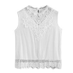 Women Lace Camis Blouse Sexy White Shirt Sleeveless Crop Top Vest Tank Blouse Cami Big Size Blusas Bordadas Cheap Clothes China #Affiliate