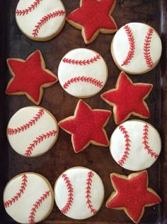 Made for jack's all star baseball end of season party July They were cute and not too much work. Baseball Cookies, Baseball Party, Baseball Season, Star Cookies, Star Party, Cupcake Cakes, Cup Cakes, Christmas Baking, Bon Appetit