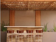 Transform your home with affordable bamboo ceilings. Visit our warehouse showroom in Woodstock, Cape Town. Bamboo ceilings just makes sense. Pergola Plans, Diy Pergola, Pergola Kits, Bamboo Roof, Bamboo Ceiling, Bamboo House, Sisal, Exterior Design, Interior And Exterior