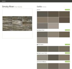 Smoky River. River Marble. Kitchen. Daltile. Behr. Valspar Paint. PPG Paints. Ralph Lauren Paint. Sherwin Williams.  Click the gray Visit button to see the matching paint names.