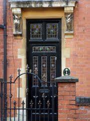 I like the different colored panes of glass. Victorian Front Doors, Art Deco Buildings, Door Gate, Architectural Elements, Doorway, Door Design, Windows And Doors, Stairs, Rustic
