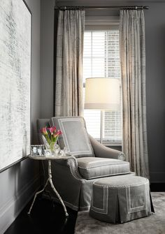 A soft, neutral palette creates a soothing seating area in the master bedroom of this art deco Chicago apartment designed by sung Eva Quateman. The Home Forest Park Table in a distressed silver finish adds an organic element to the scene. Furniture Styles, Home Furniture, Furniture Design, Gray Interior, Luxury Interior Design, Coastal Living Rooms, Living Spaces, Foyer Paint Colors, Liberty Furniture