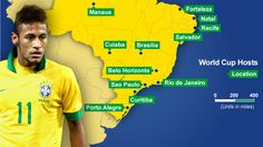 Map of where the world cup stadiums will be in Brazil (we might have already done this)