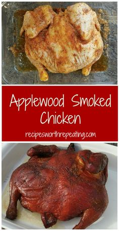 Smoking a chicken is EASY! Wow your tastebuds with this melt-in-your-mouth Applewood Smoked Chicken! Prepped with a brown sugar, smoky paprika and garlic based rub, this smoked chicken tastes amazing! #smoker #smokedmeat #chicken #Apple #applewood #wholechicken | recipesworthrepeating.com