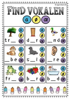 dansk opgaver indskoling 1. klasse, børnehaveklasse, danskopgaver Math For Kids, Crafts For Kids, Swedish Language, Kids Math Worksheets, Cooperative Learning, Learn To Read, Literacy, Homeschool, Teacher